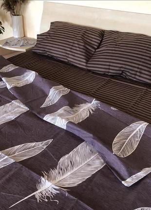 Комплекты постельного белья перья на коричневом, все размеры, комплекти постільної білизни
