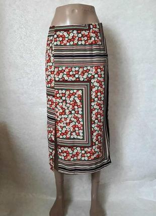Фирменная topshop шифоновая яркая юбка-миди в цветочный принт, размер с-ка