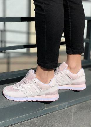 Шикарные женские кроссовки new balance 574 pink powder
