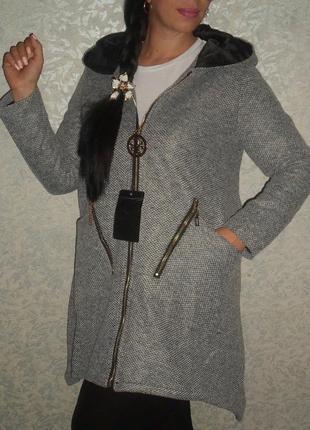 Серое пальто- кардиган на подкладке из твида, расклешенное пальто хл