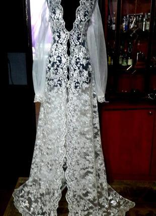 Шикарная свадебная нарядная накидка(2 образа в одном платье)