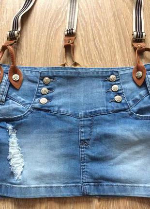 #джинсовая юбка#стрейчевая рваная юбка#юбка с подтяжками#realty jeans denimart#