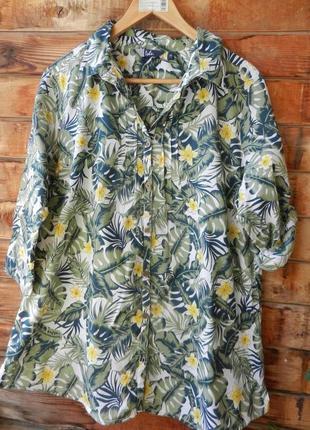 Натуральная блуза рубашка в тропический принт большой размер