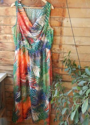 Натуральный сарафан платье в пол  макси с обалденным тропическим принтом большой размер