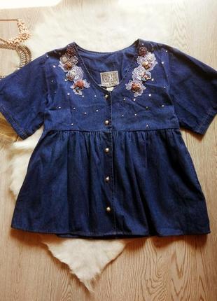 Рубашка накидка кардиган джинсовый со стразами цветами карманами синяя на пуговицах