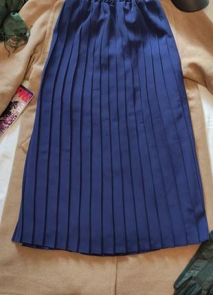 Юбка тёмно синего цвета миди плиссерованная большая батал на подкладке