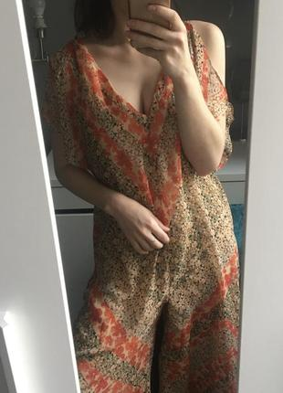 Zara комбинезон платье в цветочный принт