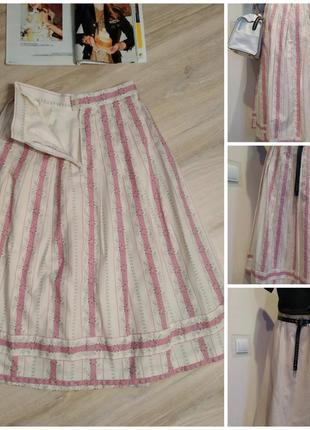 Стильная плотная пышная юбка трапеция миди