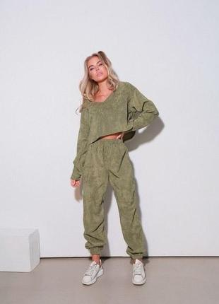 Оливковый костюм штаны + кофта