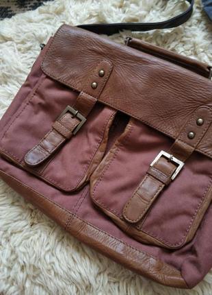 Вместительная сумка с кожаными вставками nile