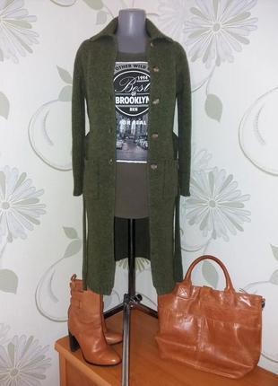 Кардиган длинный трикотажный вязаный удлиненный хаки зеленый шерстяной boden
