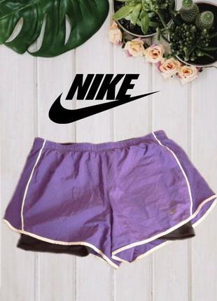 🌹🌹nike fri -fit оригинал шорты женские с велосипедками фиолет + черный м🌹🌹🌹