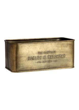 Прямоугольный металлический ящик h&m с тисненым текстом. размер 10,5x12x25 см.