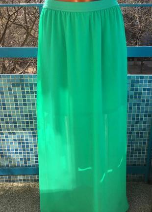 Новая яркой зелени шифоновая на подкладке и на резинке в поясе юбка от h&m