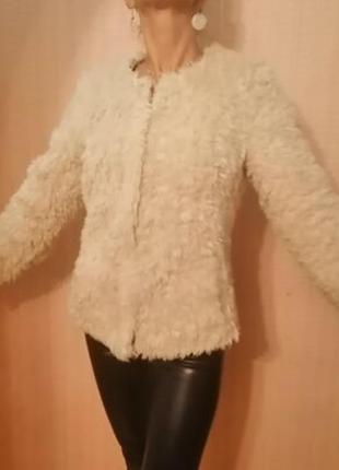Суперская шуба шубка куртка экомех. цвет молочно белый
