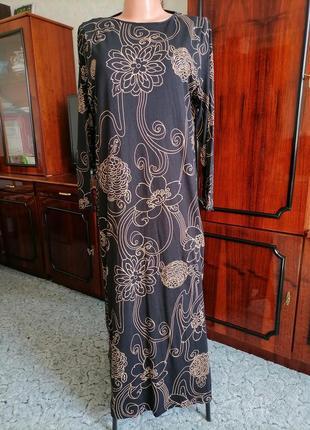 Длинное платье трикотаж пог=52