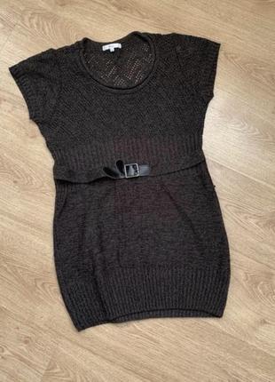 В'язане плаття туніка,платье, туника с пояском на короткий рукав