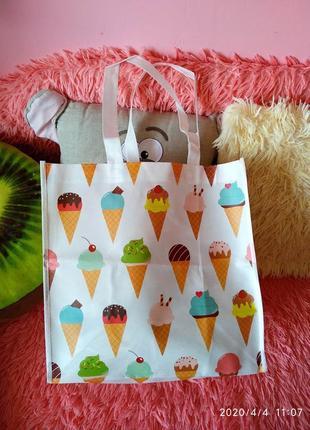 Эко-сумка/шоппер в принт мороженок 🍦🍨