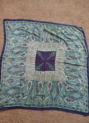 Шелковый платок-шаль индия 105*105. шов роуль ручная работа