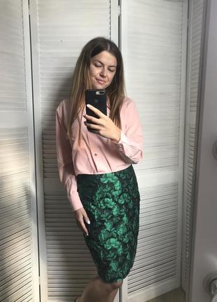 Зеленая плотная юбка футляр из жаккарда