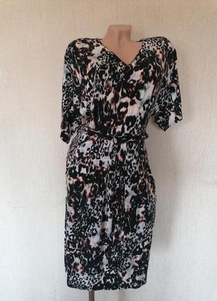 Платье с леопардовым принтом с карманами