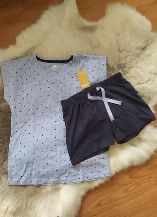Пижама женская для подростка голубая в горошек