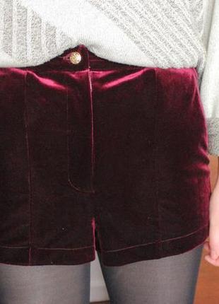 Велюровые бархатные шорты topshop