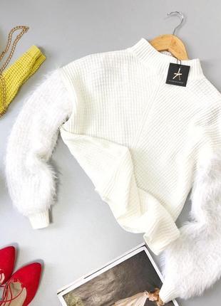 Комбинированный оверсайз свитер белый с горлом atmosphere