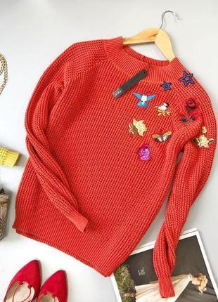 Роскошный свитер с вышивкой next