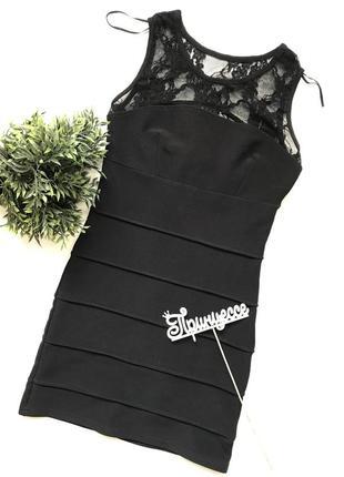 🌿бандажное мини платье с гипюрной вставкой
