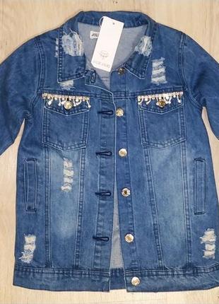 Удлинённая джинсовая куртка для девочки