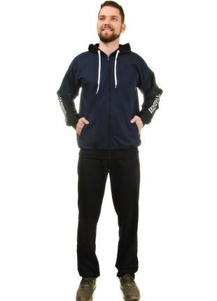 Мужской спортивный костюм из трикотажа демисезонный куртка на молнии вшитый капюшон (2025)