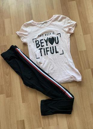 Прогулочный костюм спортивный костюм лосины футболка маленький размер xxs xs