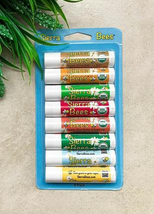 Sierra bee, набор органических бальзамов, ассорти 8 шт.