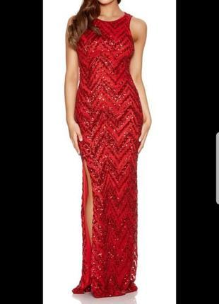 Платье вечерние  в пайетках  красное в пол