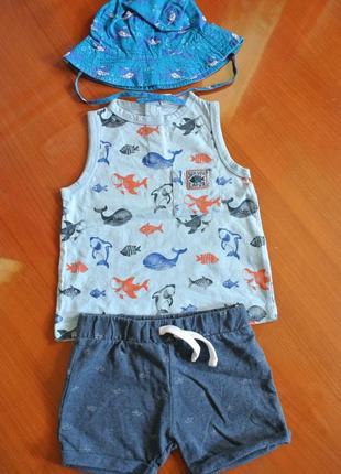 Стильный комплект майка шорты панамка на малыша