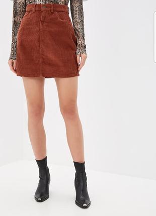 Замшевая юбка кирпичного цвета h&m