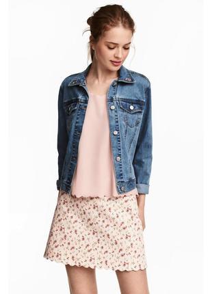 Бежевая юбка в цветочный принт hm