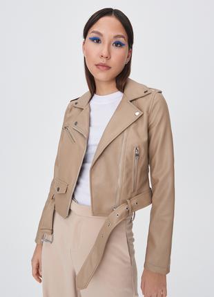 Новая кожаная куртка косуха бежевого цвета от sinsay