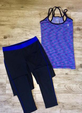 Брендовый костюм, комплект для занятий спортом майка+лосины