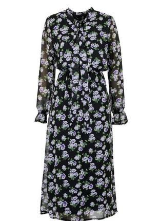 Стильное женское платье шифоновое длинное в цветочный принт в цветах