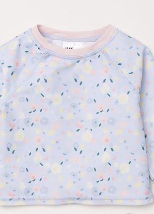 Топ, лонгслив для купания для девочки голубой в цветочек 98-104 (2-4 лет) h&m 58202