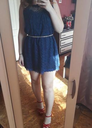 Синие кружевное платье