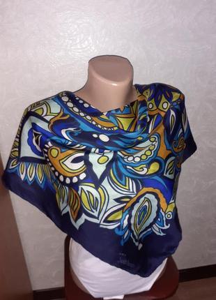Винтажный шелковый платок jean jardin 100% шелк /73*75 см