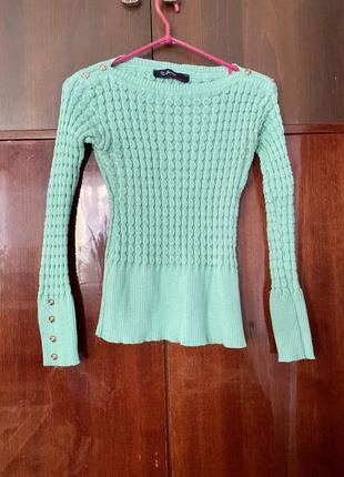 Легкий мятный свитер xs s