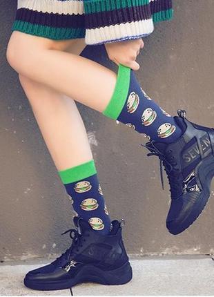 7-38 круті шкарпетки з яскравим принтом носки с гамбургерами