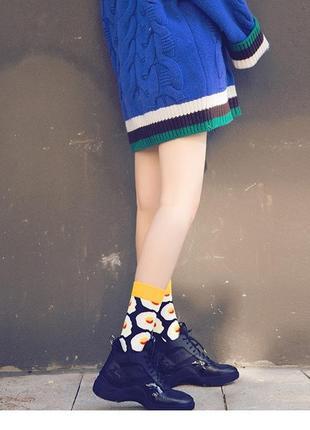 7-38 круті шкарпетки з яскравим принтом носки с яичницей