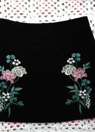 Бархатная юбка с вышивкой dorothy perkins