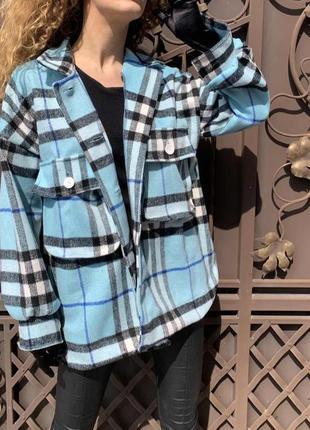 Супер крутая теплая рубашка пальто в клетку теплая
