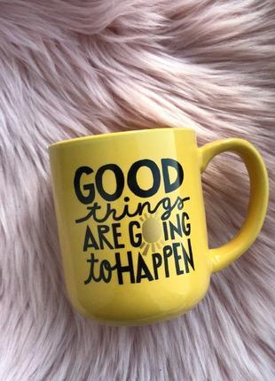 """Керамическая чашка с надписью """"good things are going to happen"""" 480мл желтая"""